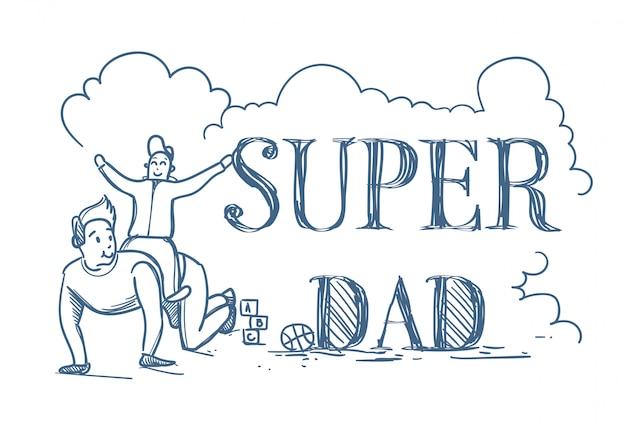 Cartaz de doodle super pai com filho de equitação homem nas costas