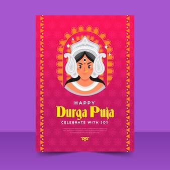 Cartaz de durga-puja feliz com a deusa hindu