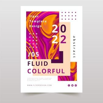Cartaz de efeito glitched fluido colorido