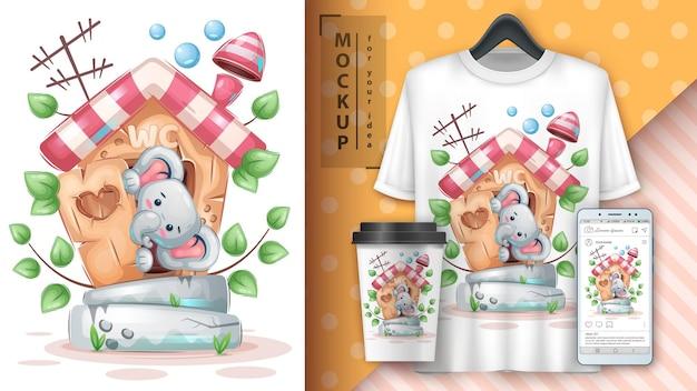 Cartaz de elefante no banheiro e merchandising vetor eps 10