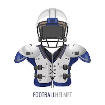 Cartaz de elemento de traje de futebol americano.