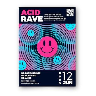 Cartaz de emoji ácido de design plano