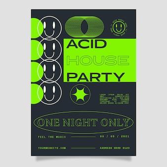 Cartaz de emoji de festa em casa de ácido plano