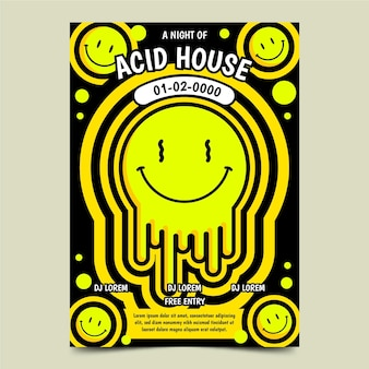 Cartaz de emoji flat acid house