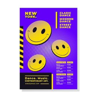 Cartaz de emoji flat acid