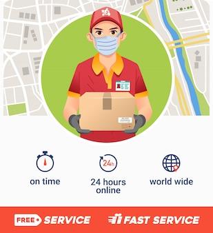 Cartaz de empresa de serviço de entrega com jovem trazer caixa como mascote e mapa como ilustração bakground