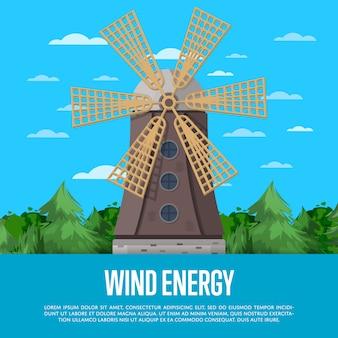 Cartaz de energia eólica com moinho de vento antigo de madeira