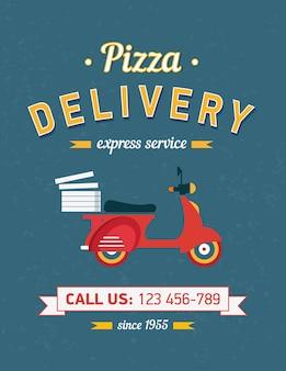 Cartaz de entrega de pizza vintage com moto moto vermelha