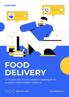 Cartaz de entrega em casa e comida