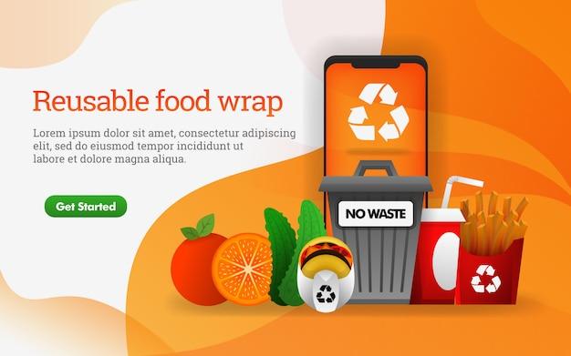 Cartaz de envoltório de comida reutilizável