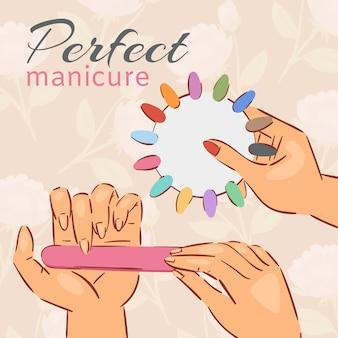 Cartaz de esmalte de manicure com escolha de unhas acrílicas falsas coloridas na ilustração de tons polonês moderno.