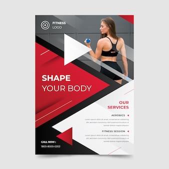 Cartaz de esporte com foto de mulher