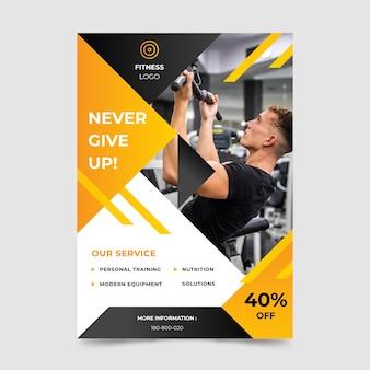 Cartaz de esporte com foto e oferta