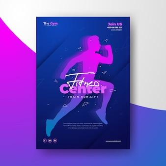 Cartaz de esporte com silhueta de homem treinando