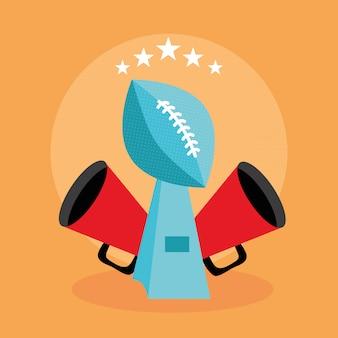 Cartaz de esporte de futebol americano com ilustração de balão de troféu