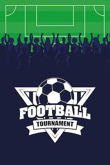 Cartaz de esporte de futebol com balão no escudo