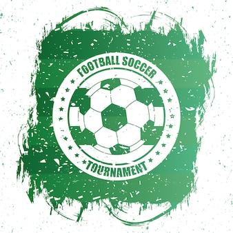 Cartaz de esporte de futebol verde com emblema de balão