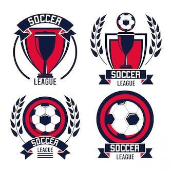 Cartaz de esporte de liga de futebol com balões e copos de troféu