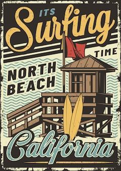 Cartaz de esporte de surf vintage