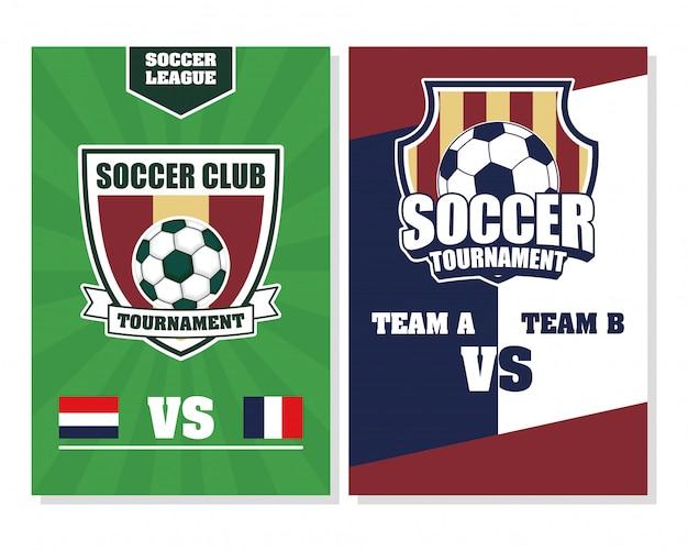 Cartaz de esporte futebol futebol com balões nos escudos