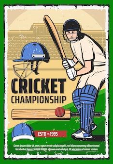 Cartaz de esporte jogo de críquete, jogador com bastão