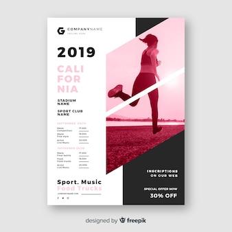 Cartaz de esporte modelo com foto claro-escuro