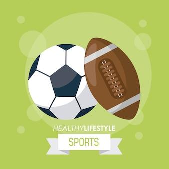 Cartaz de esportes com bolas de futebol e futebol americano