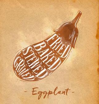 Cartaz de esquema de corte de berinjela com letras frito assado guisado grelhado em estilo retro no artesanato