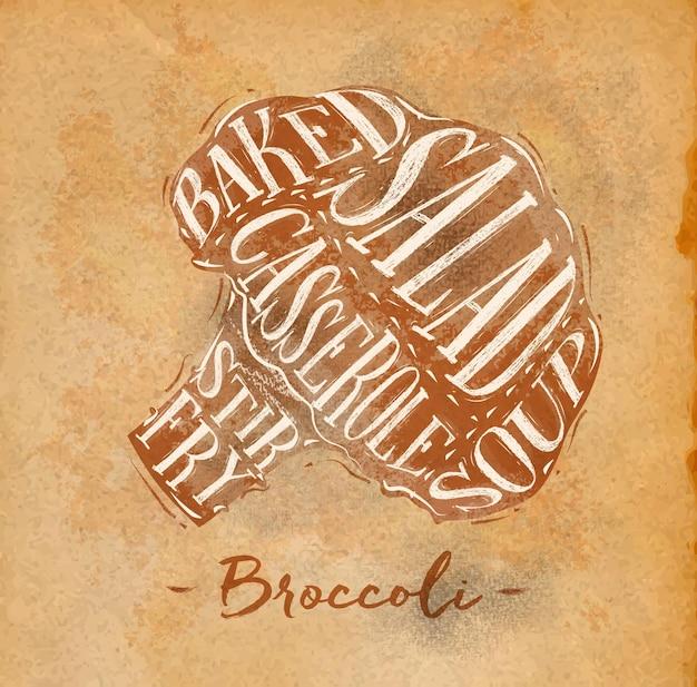 Cartaz de esquema de corte de brócolis lettering salada assada caçarola sopa frita em desenho no artesanato