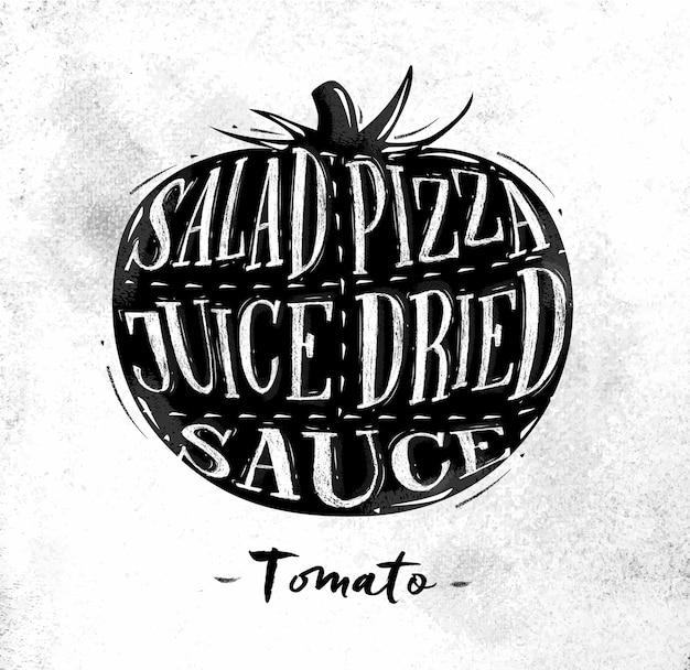 Cartaz de esquema de corte de tomate com letras de salada, pizza, suco, molho seco, em estilo vintage