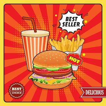 Cartaz de estilo cômico de fast-food