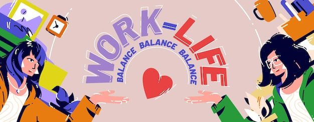 Cartaz de estilo de desenho animado de equilíbrio entre trabalho e vida e uma mulher de negócios sentada no local de trabalho resolvem o dilema