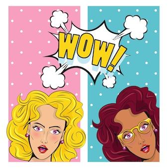 Cartaz de estilo pop art de personagens lindas garotas morenas e loiras.