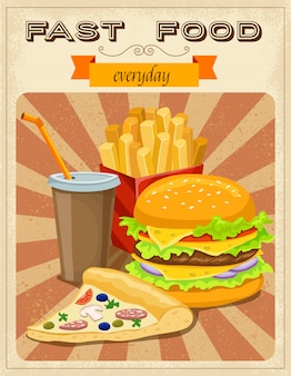 Cartaz de estilo retro de fast-food