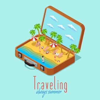 Cartaz de estilo retrô isométrico de viagens de férias