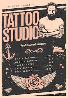Cartaz de estúdio de tatuagem vintage