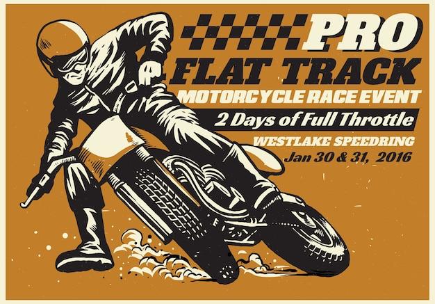 Cartaz de evento de corrida de motocicleta de pista plana