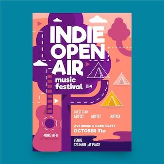 Cartaz de evento de festival de música ao ar livre