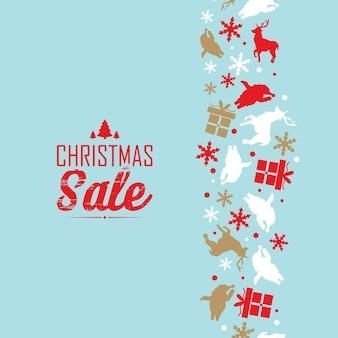 Cartaz de evento de venda de natal com texto sobre descontos e símbolos tradicionais decorativos