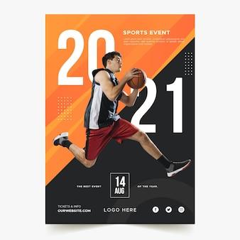 Cartaz de evento esportivo com foto