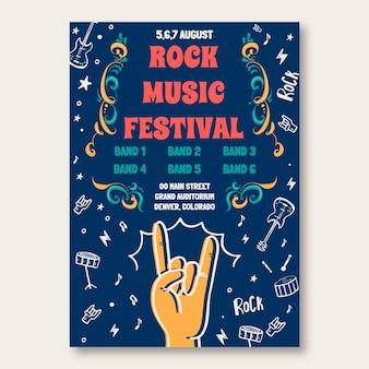Cartaz de evento musical de concerto de rock de doodle criativo