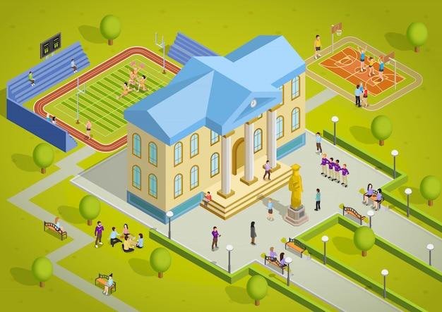 Cartaz de exibição isométrica de edifício complexo universitário