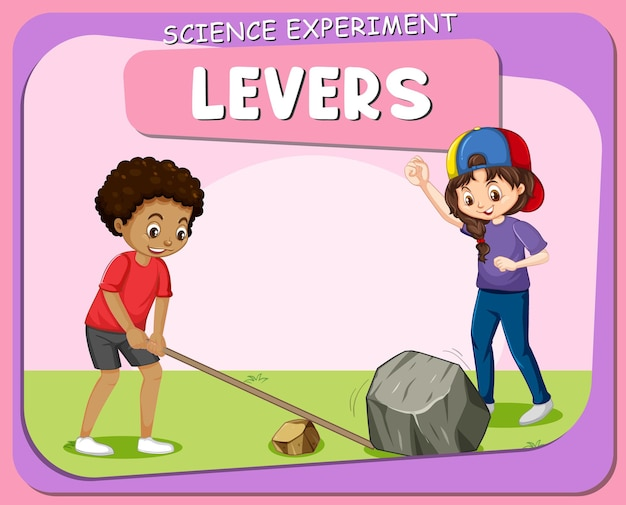 Cartaz de experimento científico de alavancas com personagens infantis
