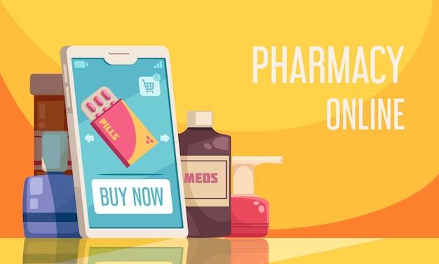 Cartaz de farmácia on-line com símbolos de produtos médicos planos