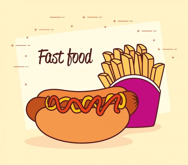 Cartaz de fast food, cachorro-quente com batatas fritas