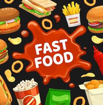 Cartaz de fast food, menu de hambúrgueres fastfood e sanduíches