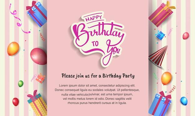 Cartaz de feliz aniversário com balões