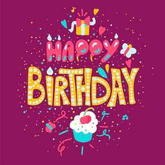Cartaz de feliz aniversário com bolinho. cartão de celebração. vetor