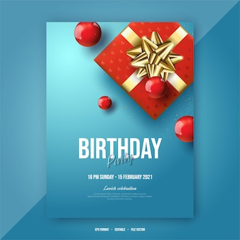 Cartaz de feliz aniversário com caixa de presente vermelha.