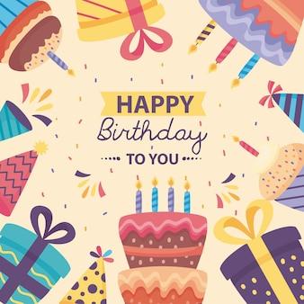 Cartaz de feliz aniversário com desenho de ilustração de decoração fofa